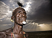 Karo man in the evening. South Ethiopia. African people