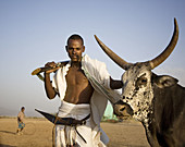 Afar man with cow and gun. Ethiopia. African tribes