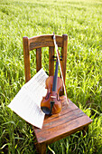 Absence, Absent, Art, Arts, Bow, Bows, Chair, Chairs, Color, Colour, Concept, Concepts, Country, Countryside, Daytime, Excellence, Exterior, Fiddle, Fiddles, Grass, Grasses, Music, Musical instrument, Musical instruments, Outdoor, Outdoors, Outside, Score