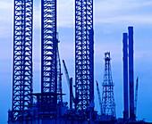 Oil rigs, Galveston bay. Texas, USA