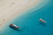 Shipwreck (Navagio) Beach. Aerial View of Tour Boats. Zakynthos. Ionian Islands. Greece
