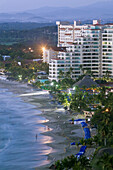 MEXICO-Pacific Coast-GUERRERO-Ixtapa: Ixtapa Hotels along Playa del Palmar / Dusk