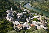 Bosnia-hercegovina. Pocitelj. Ottoman era town. Town view and Dadzi-Alija mosque