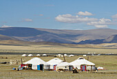 Mongolia. Bayan Olgii province. Kazak yurt camp on the Tsambagarav National Parc. Kazak population.