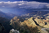 Storm clouds and sunlight from Grandview Point, South Rim, Grand Canyon National Park, Arizona, USA