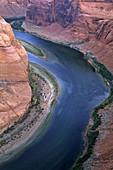 Morning light at Horseshoe Bend, Colorado River canyon detail, near Page, Arizona, USA