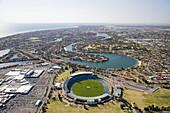 West Lakes Mall, AAMI Stadium and West Lakes, Adelaide, South Australia, Australia - aerial