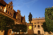 Naschmarkt with Johann Wolfgang Goethe Monument in the evening, Leipzig, Saxony, Germany
