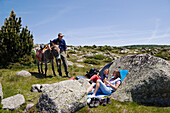 A rest during a family-hiking with a donkey in the Cevennes mountains, France