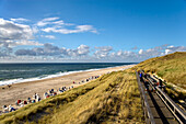 Wooden Staircase over Dunes, Wenningstedt, Sylt Island, North Frisian Islands, Schleswig-Holstein, Germany