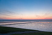 Sundown, Wadden Sea, Nordstrand Island, North Frisian Islands, Schleswig-Holstein, Germany