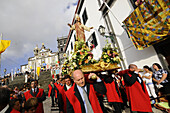 Church Procession in front of Church of the Holy Ghost, Ribeira Grande, Sao Miguel, Azores, Portugal
