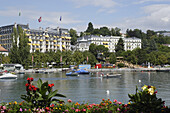 View over lake Geneva to Beau-Rivage Palace Hotel, Lausanne, Canton of Vaud, Switzerland