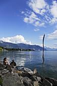Giant fork sculpture in lake Geneva, Vevey, Canton of Vaud, Switzerland
