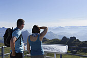 Hikers enjoying the view from mount Rochers de Naye, Montreux, Canton of Vaud, Switzerland