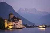 Chillon Castle at Lake Geneva in the evening light, Veytaux, Vaud, Switzerland