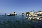 Pleasure boat on lake Geneva, Vevey, Canton of Vaud, Switzerland