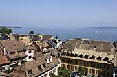 View over roofes of Nyon to lake Geneva, Nyon, Canton of Vaud, Switzerland
