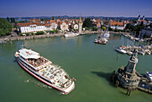 Exkursion boat at port basin in the sunlight, Lindau, Lake Constance, Baden Wurttemberg, Germany