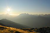 View from Glanderspitze to Krahberg and Lechtaler Alpen range, Venet, Oetztaler Alpen range, Tyrol, Austria
