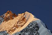 Piz Bernina in alpenglow, Upper Engadin, Engadin, Grisons, Switzerland