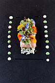 Salmon rolls with vegetables, herbs and lemon sauce, Restaurant Philipp, Sommerhausen, Franconia, Bavaria, Germany
