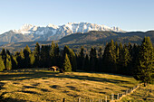 Idyllic scenery and mountains in the sunlight, Karwendel, Werdenfelser Land, Bavaria, Germany