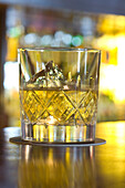 A backlit glass of whiskey, Bascule Bar, Cape Grace Hotel, Cape Town, South Africa, Africa