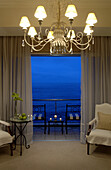 Interior view of a room with sea view at The Twelve Apostles Hotel, Cape Town, South Africa, Africa