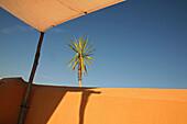 Detail einer menschenleeren Dachterrasse an einem sonnigen Tag, Marrakesch, Marokko, Afrika