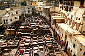 View at a tannery at Chouwara district at the medina of Fes, Morocco, Africa