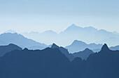 Silhouette of the Saoseo range, Upper Engadin, Engadin, Grisons, Switzerland