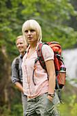 Young couple hiking, Wetterstein range, Bavaria, Germany