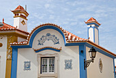 Blue and white painted house, Historical, old fishing village of Ericeira, Portugal