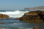 Waves breaking on rocks, near Guincho Beach, Cabo da Roca, Costa de Lisboa, District of Lisbon, Estremadura, Portugal, Atlantic
