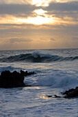 Waves breaking on rocks at sunset, near Guincho Beach, Costa de Lisboa, District of Lisbon, Estremadura, Portugal, Atlantic
