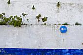 Mauer mit Pflanzen und Verkehrsschild, Obidos, Leiria, Estremadura, Portugal