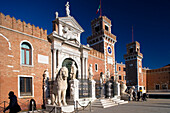 Entrance to the Arsenal, Arsenale di Venezia, former wharf of Venice, in 16th century the largest wharf in the world. Built by Antonio Gambello, Venice, Italy, Europe
