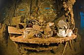 Tableware and Artifacts on Brigde of USS Saratoga, Marshall Islands, Bikini Atoll, Micronesia, Pacific Ocean