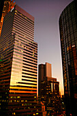 Citigroup Center and Westin Bonaventure Hotel at dusk, Downtown Los Angeles, California, USA, United States of America