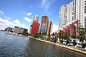 Exterior view of apartment buildings at a bay, Brickell Avenue condominiums, Biscayne Bay, Miami, Florida, USA