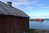 Coastal landscape and harbour near Djauvik, Gotland, Sweden, Scandinavia, Europe