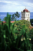 The church tower of the catholic mission behind treetops, Waikiri, Island of Taveuni, Fiji, South Seas, Oceania