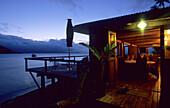 Restaurant of the Matangi Island Resort in the evening, Matangi Island, Fiji, South Seas, Oceania