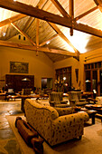 Interior view of the cosy lounge of the Treetops Lodge, North Island, New Zealand, Oceania