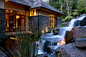A little waterfall at the garden of the Treetops Lodge, North Island, New Zealand, Oceania