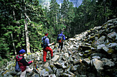 Three mountaineers decending from Mt. Shei at Shei-Pa National Park, Taiwan, Asia