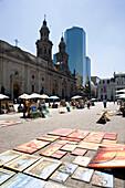 Art market metropolitan cathedral Plaza de Armas. Santiago. Chile.