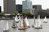 Elizabeth River, Cock Island Sailboat Race Weekend, boat, water, competition, Norfolk skyline. Portsmouth. Virginia. USA.