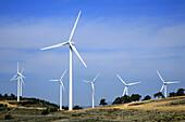 Wind turbines, Maestrazgo, Castellon province, Comunidad Valenciana, Spain.